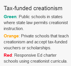 Creationism in public schools, mapped. Where tax money supports alternatives to evolution. 2014-01-28 23-58-01